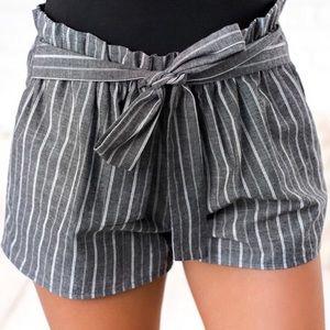 "Pants - •LAST 3 ""Gwen"" Black Striped Summer Shorts"